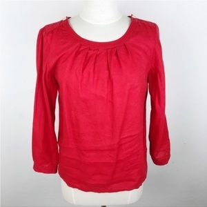 J. Crew Cherry Red Linen Blouse Top Mid Sleeve